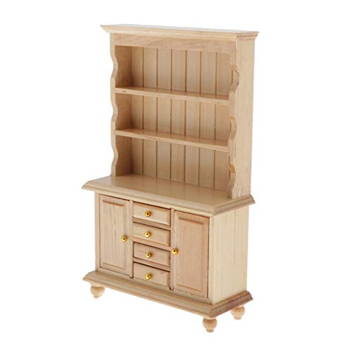 T TOOYFUL 1/12 Puppenstube Holzmöbel Miniatur Schrank Standregal Bücherregal Modell aus Holz - Holzfarbe