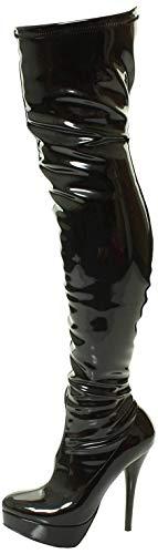 Nueva Sexy Ladies Negro sobre la Rodilla de caña Alta Plataforma del talón Botas (45, Charol Negro)
