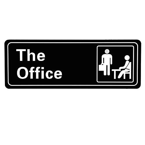 LUTER The Office Sign Acrilica Porta Segno Autoadesivo Installazione Semplice 3.2x9x0.2 Pollici (Bianco e nero)
