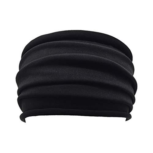 Holzkary Wide Frill Brimmed Headbands Plain Turban Hairband Elastic Soft Sweatband Hair Accessories for Women and Girls(Black)