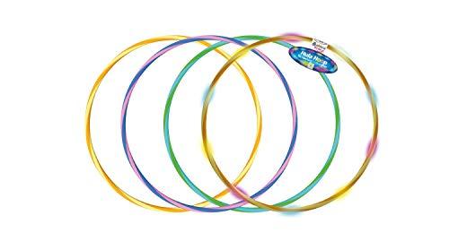 alldoro 60084 Hoop Fun Reifen Ø 60 cm, 1 Hoopreifen mit 9 LEDs, Sportreifen für Sport, Fitness und Gymnastik, Kinderreifen mit Licht, für Kinder ab 4 Jahren & Erwachsene, 3 farbig, Farben Sortiert