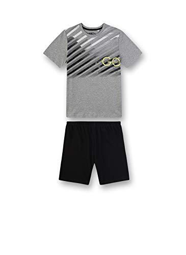 Sanetta Jungen Pyjama kurz Zweiteiliger Schlafanzug, Grau (grau 1709), (Herstellergröße:140)