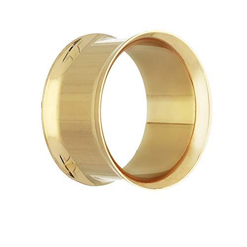 Treuheld® | 14mm Ohr Flesh Tunnel | Chirurgenstahl 316L in Gold | Dünn | Double Flared Ohrtunnel | Dünner Rand | hautfreundlich & antiallergen