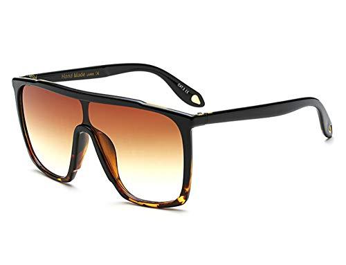 Large Men Sunglasses Vintage Retro 70s Squared Frame Flat Top Shield Glasses (Tortoise Brown, 59)