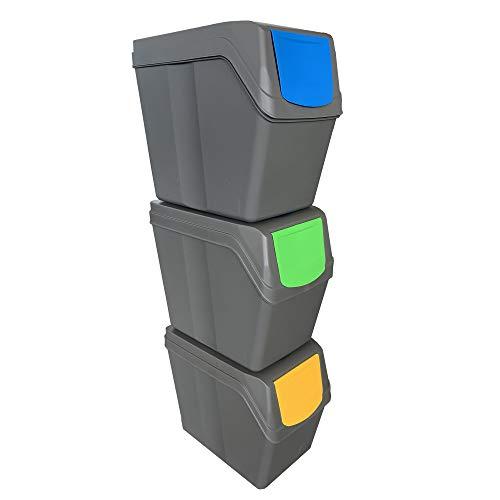 Prosperplast Juego de 3 Cubos de Reciclaje Capacidad Total 60 litros, apilable, Compartimentos en Color Gris, 3 x 20 litros