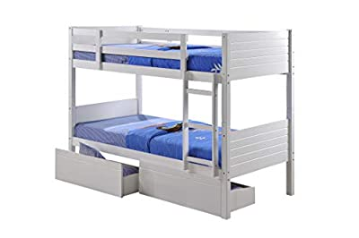 Visco Therapy Milano Lala Bunk Bed, Stylish White Wooden Frame with Drawers or Trundle.