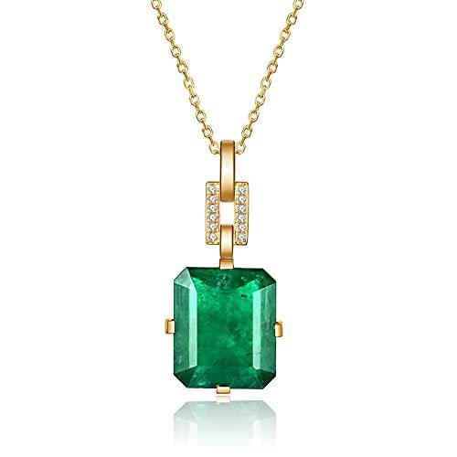 YUNHE Collar de Oro Amarillo de 14 Quilates Colgante de Boda de Jade Natural para Mujer Colgante de Piedras Preciosas de Esmeralda Pura
