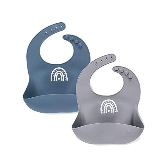 2er Silikon Lätzchen Fütterlätzchen Baby mit Auffangschale für Mädchen Junge, verstellbar, leicht, weich, wasserdicht