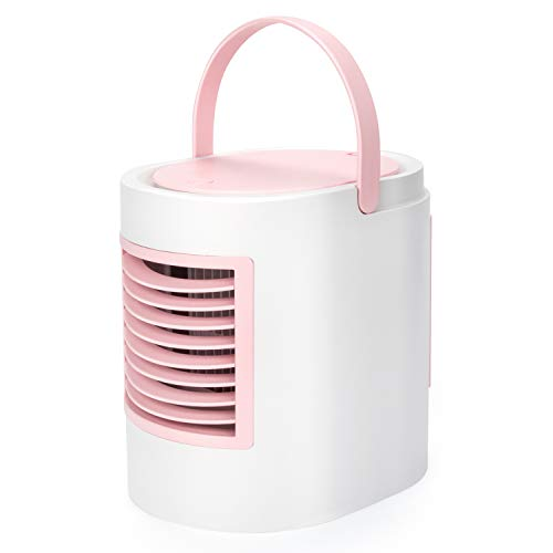 ONXE Portable Air Conditioner, Personal Cooler Fan No Water Leakage,3 Speed,LED Room Humidifier/Mini Air Conditioning Fan for Home Bedside and Office Desk (Pink)