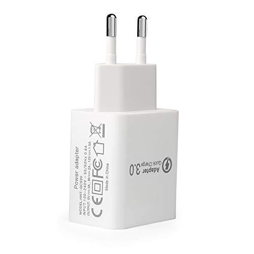 Cargador Quick Charge 3.0, Cargador Carga Rápida USB 18W Cargador de Red para Xiaomi Mi9 Mi8, Redmi 9 Note 9 Note 8, Samsung S20 S10 S9, BQ, Aquarius X, Huawei P40, i Phone X 11