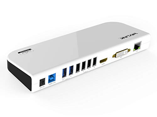 WAVLINK USB 3.0 Universal Laptop Docking Station Dual Video Outputs Support HDMI/DVI/VGA (6 USB Ports,Gigabit Ethernet,Audio)