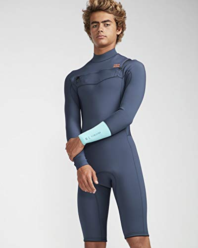 Billabong Mens 2mm Furnace Revolution lange mouwen Chest Zip Shorty Wetsuit Cyan - Thermal Warm hittelaag Lagen Quick Dry