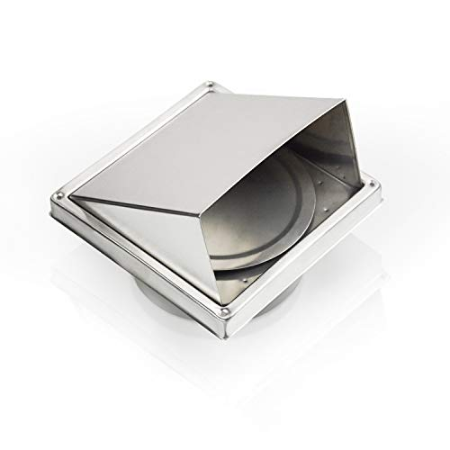 Lehom 304 Stainless Steel 6 inch Wall Vent Cap Square External Extractor Exhaust Fan Vent w/Cushioned Non Return Flap for Bathroom Office Kitchen Factory Outdoor