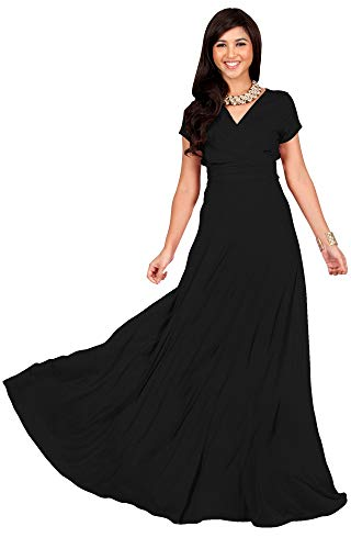 KOH KOH Petite Womens Long Cap Short Sleeve V-neck Flowy Cocktail Slimming Summer Sexy Casual Formal Sun Sundress Work Cute Gown Gowns Maxi Dress Dresses, Black S 4-6