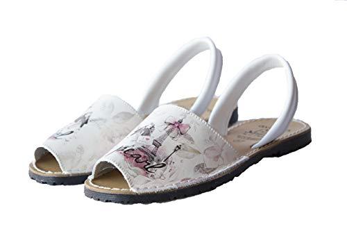 Avarca Menorquine 331AV Damen Sandalen Leder, Weiß - weiß - Größe: 38 EU