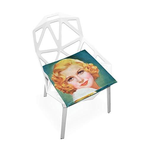 LORONA Vintage Retro Star Actrice Stoel Kussens Memory Foam Pads voor Gezond Zitten thuis, Kantoor, Keuken, Rolstoel, Eten, Patio, Camping | Vierkant 16