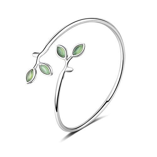 Nobrand 925 Astilla de Ley Simple Moda Verde Hojas ópalos Pulseras Accesorios de Ropa redimensionable Brazalete para Las Mujeres Regalo