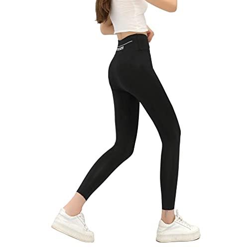 XUNHOU Leggings de Yoga Ultra Suaves y cómodos,Pantalones de Yoga Estampados de Cintura Alta,Pantalones Deportivos elásticos Que levantan la Cadera-Negro_M,Leggings de Deportivos Gym únicos