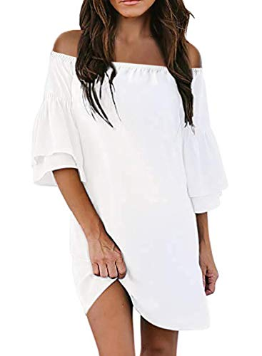 Actloe Women Off Shoulder 3/4 Bell Sleeve Solid Shift Dress Causal Tunic Dress B-White Large