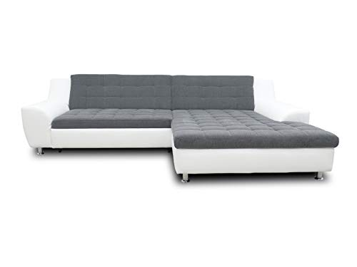 DOMO. collection Morton Ecksofa | Sofa in L-Form, Eckcouch Polstergarnitur, grau/weiß, 304x200x84 cm