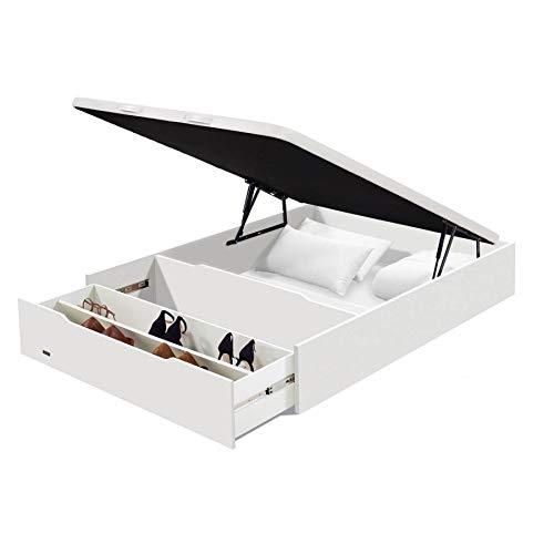 Flex - Canapé Abatible Madera 25 con Zapatero y Tapa con Tejido 3D de Flex - 135x200cm, Blanco, No