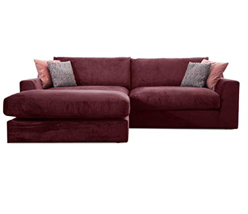Cavadore Ecksofa Fiona mit Recamiere Links/Große Eckcouch inkl. Rückenkissen im modernen Design / 277x90x199 / Webstoff Rot