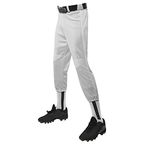 Champro Bp1yws buntes leichtes Netz-Jersey – Baseball, Fußball, Jungen Unisex Kinder, Performance Youth Pull-Up Baseballhose mit Gürtelschlaufen, grau, Large