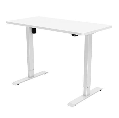 Jet-Line Escritorio de oficina en casa con altura ajustable, incluye tablero de 160 x 80 cm, color blanco, equipamiento de oficina, escritorio ergonómico ajustable, no daña la espalda.