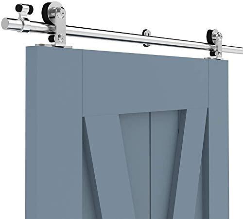 CCJH 5.5FT/167cm Acciaio Inossidabile Binario per Porta Scorrevole Kit Acciaio Inox Accessori per Una Porta Scorrevoli di Legno