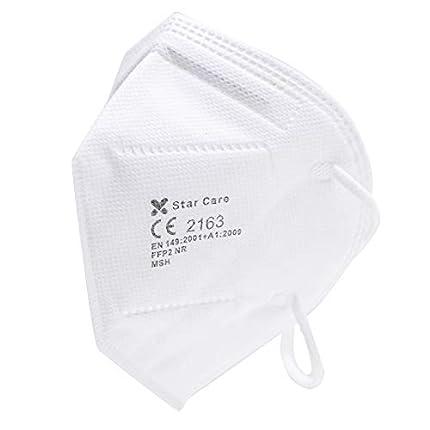 Star Care Mascarilla Protectora Desechable Respiratoria FFP2 Pack de 10 uds. Homologada NB 2163. Filtración 99%