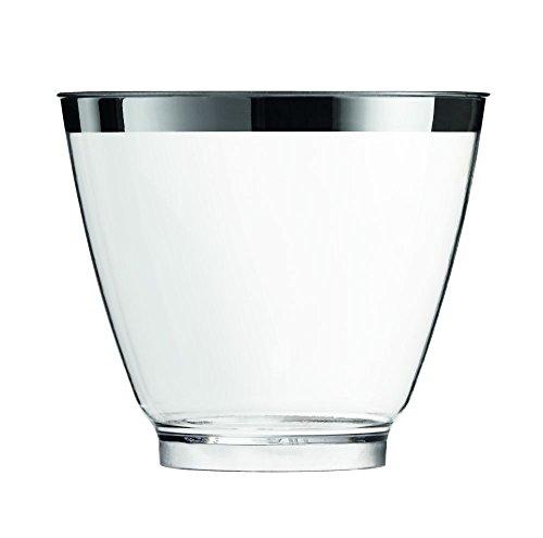 Sovie Servingware | Einweg Fingerfood Glas 80ml aus PS Kunststoff | H 5cm x Ø 6cm | Silberrand modernes Design | Transparent | 40 Stück