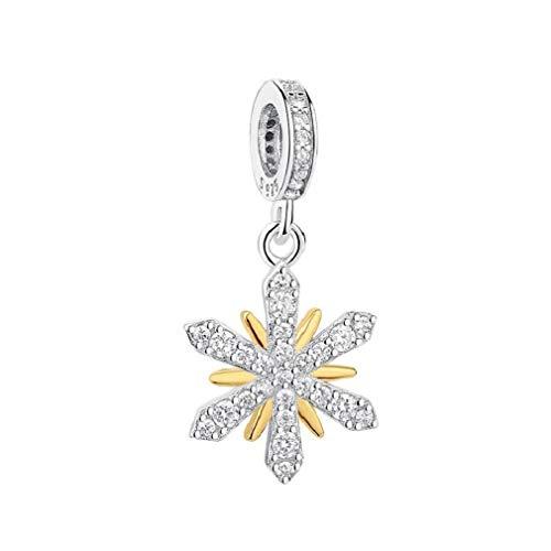 FeatherWish - Ciondolo in argento Sterling 925 a forma di fiocco di neve con zirconia cubica, adatto a braccialetti Pandora