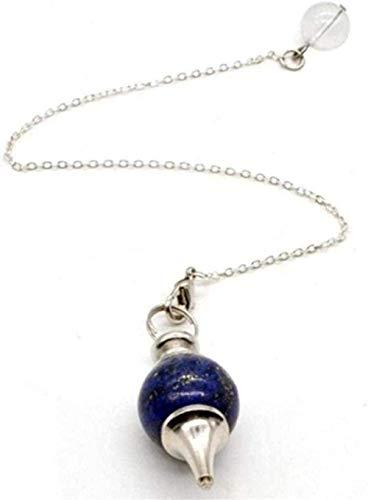 Colgante de péndulo colgante de piedra natural para radiestesia Collar de joyería de hombre de ópalo negro de cuarzo rosa (Color de metal: Ónix negro) -Lapis_Lazuli