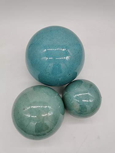 Teramico Dekokugel Gartenkugel glasiert -Blau, Grün, Anthrazit, Türkis, Aqua- sehr hochwertig frostfest und witterungsbeständig Steinzeug (16cm, Türkis)