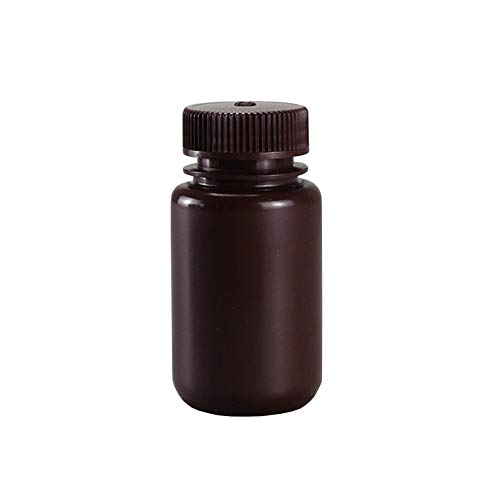 JRLGD HDPE Wide Mouth Plastic Bottles with Caps, Lab Sample Bottle Reagent Bottle, 125ml, Brown, Pack of 10
