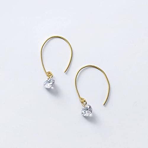 BEWITCHYU Pendientes de Plata S925, Pendientes Sencillos de un Solo Diamante para Mujer, Pendientes de Moda Personalizadospendientes de plata s925