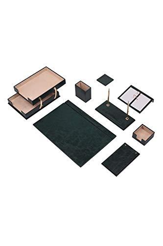 Calme-D Lux - Juego de escritorio (10 piezas, con doble bandeja para documentos, 49 cm x 34 cm, piel sintética, con placa para nombre personalizado, en 10 colores a elegir), color verde
