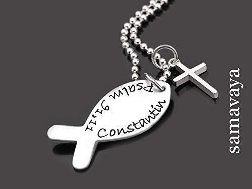 Namenskette Konfirmation HALLELUJAH KREUZ 925 Silber Kette Kommunion Gravur Christenfisch