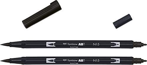 Tombow abt-n15-p2'ABT Dual Brush Pen–nero (confezione da 2)