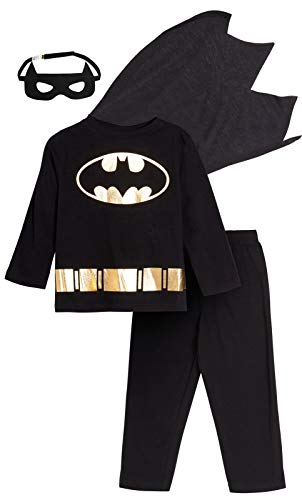 DC Comics Schlafanzug für Jungen mit Batman-Motiv, 4-teiliges Set mit Umhang und Maske Gr. 3 Jahre, Schwarz