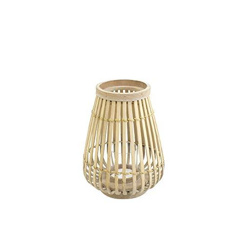 connox Collection Bambus-Rattan-Windlicht geeignet als Deko für Wohnung, Garten, Terrasse und Balkon. Kleine Bambus Laterne mit Kerzen-Glas 26 cm, Natur