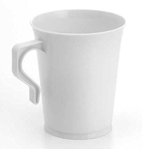 40 Einweg-Kaffeetassen / Teetassen / Kaffeetassen / wiederverwendbare Kaffeetassen / Kaffeebecher / Kunststoff-Kaffeetassen / Cappuccinotassen mit Griffen weiß