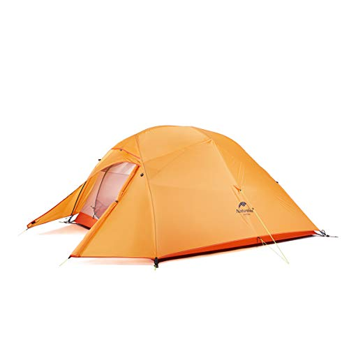 Naturehike Cloud-Up 3 Person Lightweight Backpacking Tent with Footprint – 3 Season Free Standing Dome Camping Hiking Waterproof Backpack Tents(210T Orange)