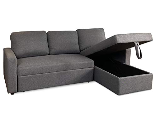 Visco Therapy Reegan L Shaped Corner Sofa Bed in Grey, with Hidden Storage and Reversible Chaise. Matching Recliner Chair Also Available. (Sofa)