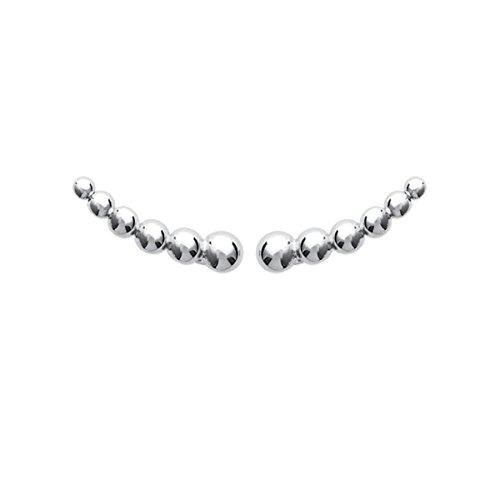Pendientes de plata 925/000rodiada, con diseño de fila de perlas para el contorno de la oreja