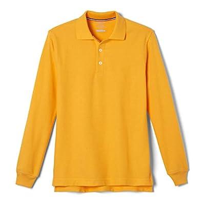French Toast Boys' Little Long Sleeve Pique Polo Shirt (Standard & Husky), Gold, 6-7
