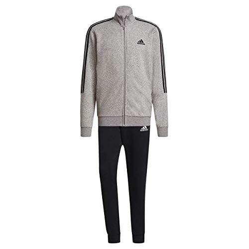 adidas M 3S FT TT TS, Tuta da Ginnastica Uomo, Top:Medium Grey Heather/Black Bottom:Black/White, 10