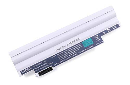 vhbw Batterie Li-Ion 6600 mAh (11,1 V) pour Acer Aspire One D255E-1858 comme AL10A31, AL10BW, AL10G31, BT.00603.121.