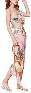 [フォーリーフ]水着 レディース ビキニ タンキニ パレオ付き 花柄 体型カバー 3点セット