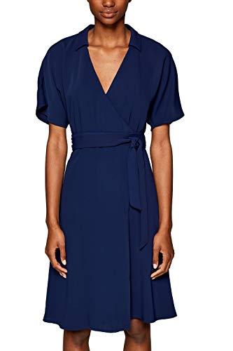 ESPRIT Collection Damen 039EO1E003 Kleid, Blau (Navy 400), (Herstellergröße: 40)